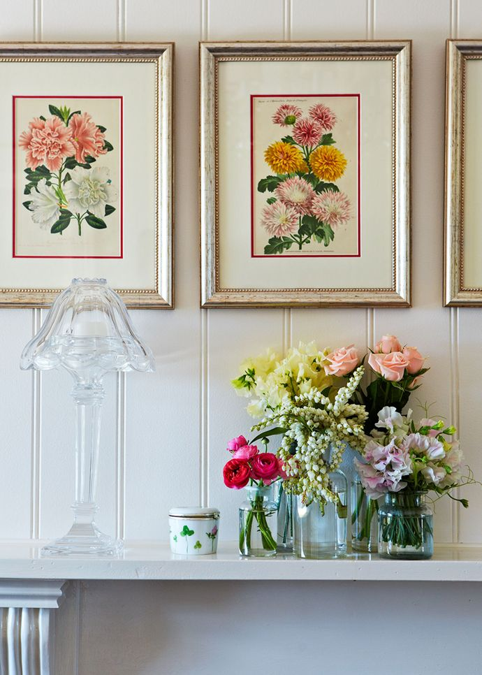 """""""These prints were a total bargain,"""" says Catriona. """"I found them in the back of a store at Marché aux Puces, the flea markets in Paris. The prints come from calendars that are around 150 years old. My friend Lindy Irons from About Interiors framed them. I treasure each and every one."""""""