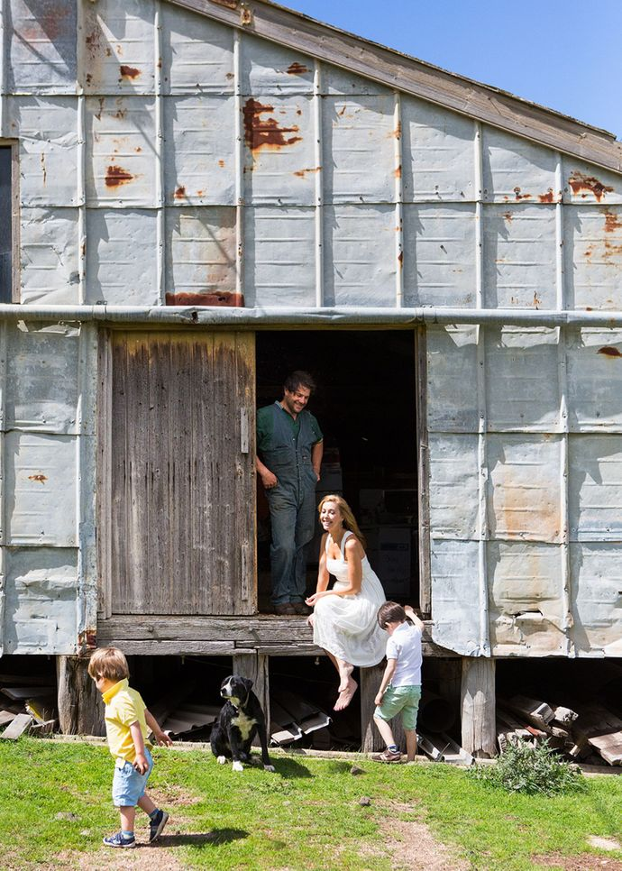 """The family takes to the outdoors with their dog, Tango Dancer. """"I love the energy of the shearing sheds,"""" says Catriona. """"I always feel like I'm walking through a Tom Roberts painting in there – which of course my husband thinks is nuts – but strangely he puts up with all my romantic notions!"""""""