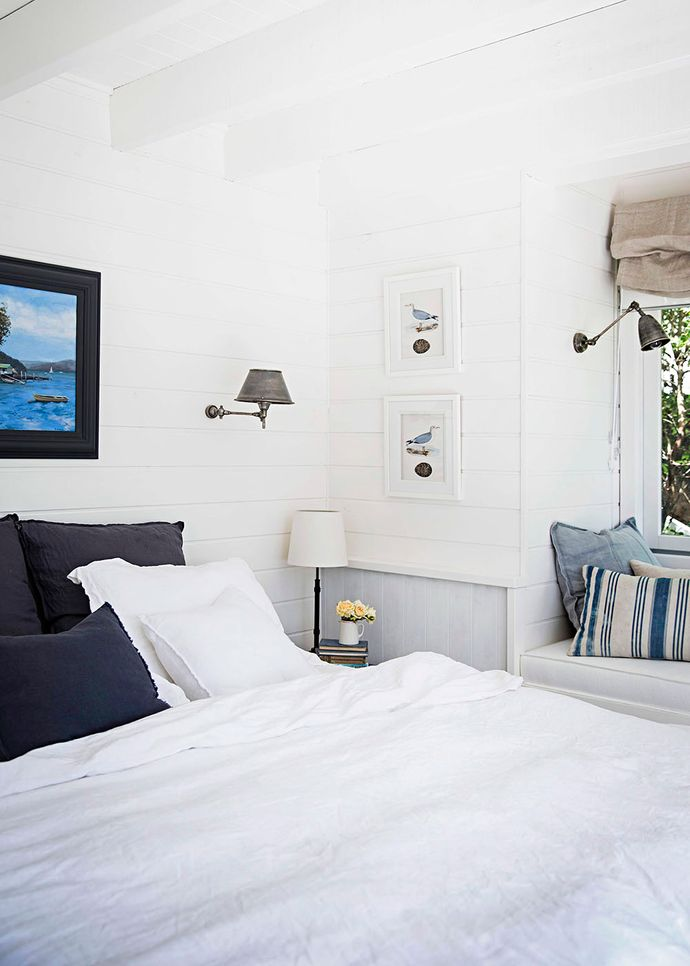 """Natural linen sheets from Gypsy Luxe are a sophisticated choice. """"They're my new thing – they're so nice to sleep in,"""" says Tara. The painting of Dangar Island on the Hawkesbury River, by Denice Sealy, was a gift from Martyn's mum."""